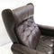 Danish Mid Century Chocolate Leather Swivel Armchair Arm Chair