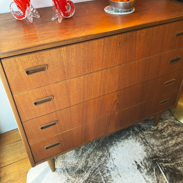 1960's Teak Danish Lowboy Chest of Drawers