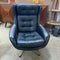 1970's Danish Retro Black Leather Swivel Lounge Armchair Chair