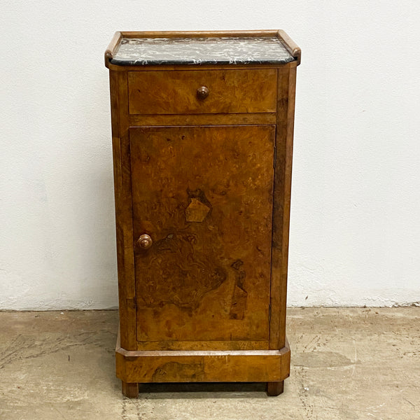 Antique Marble Top French Walnut Side Cabinet Cupboard
