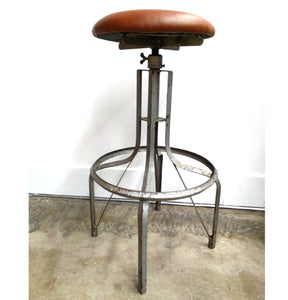 Industrial Machinist Stool reupholstered leather seat