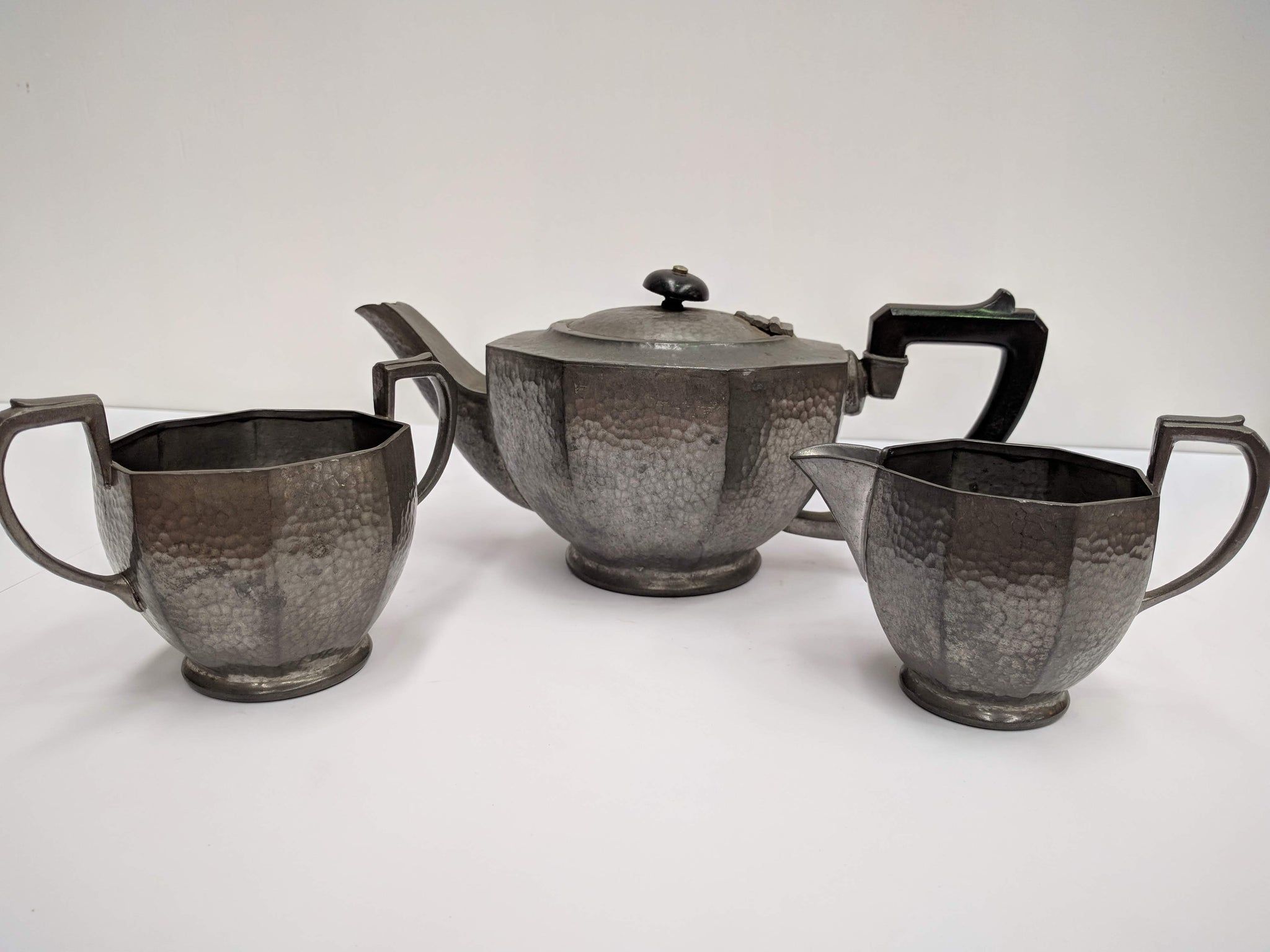Three Piece Tudric Pewter Tea Set