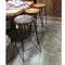 Set Rustic Industrial steel frame wood seat bar stool