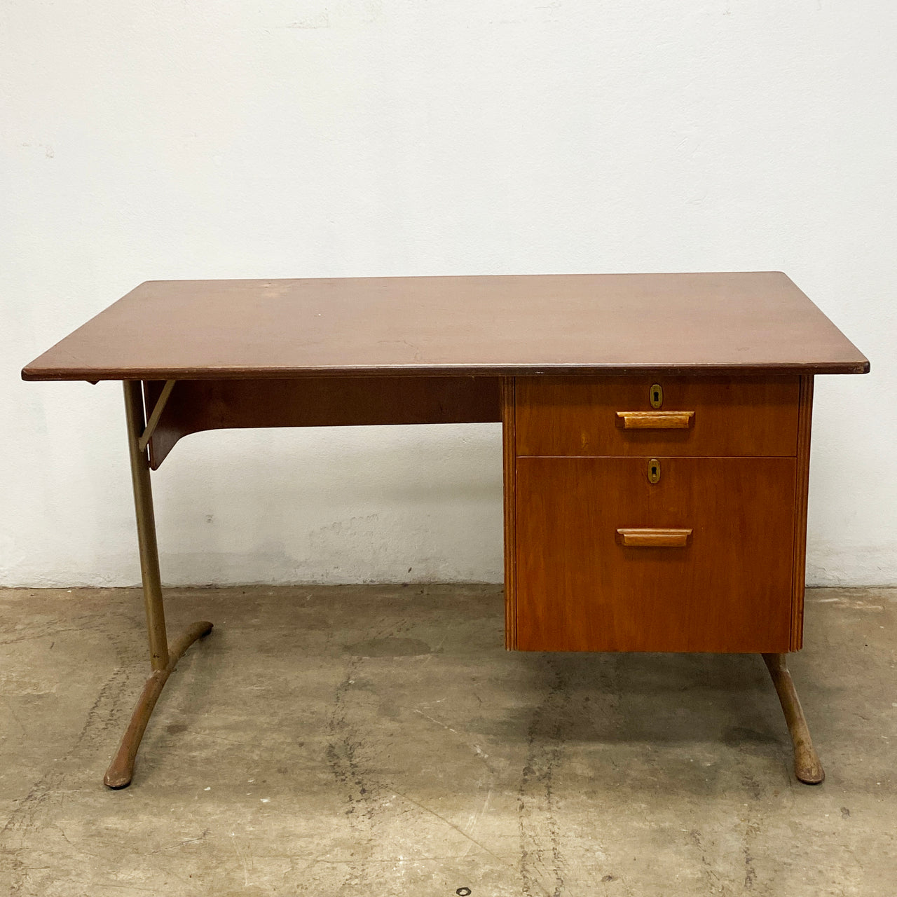 Industrial Retro 1960's 2 Drawer Metal and Wood Desk