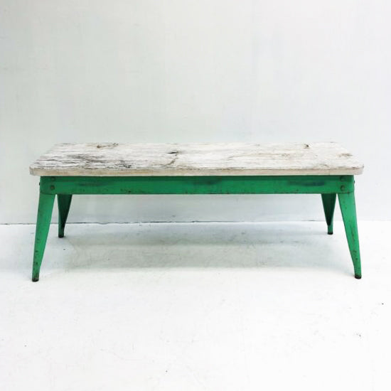 Industrial Wood Top Bench Seat
