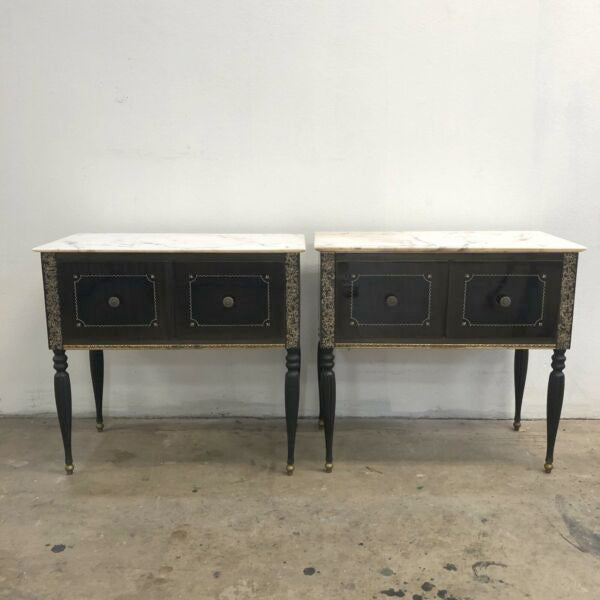Vintage 1970's Italian Marble Top Bedside Tables