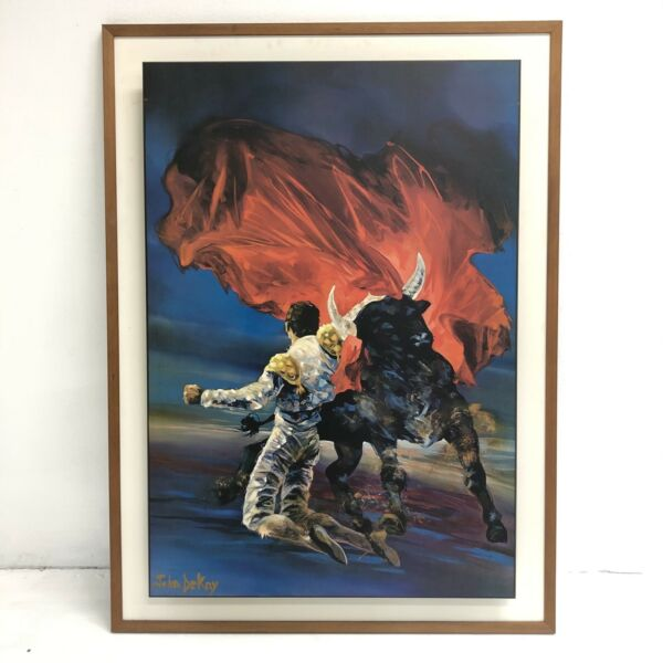 "Large John Dekay ""The Red Cape"" Matador Bull Fighter Print"