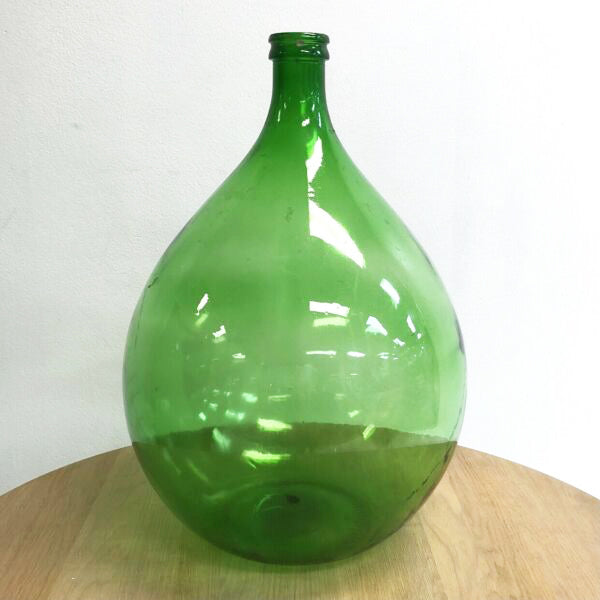 Large Vintage Italian Green Glass Wine Demijohn Carboy