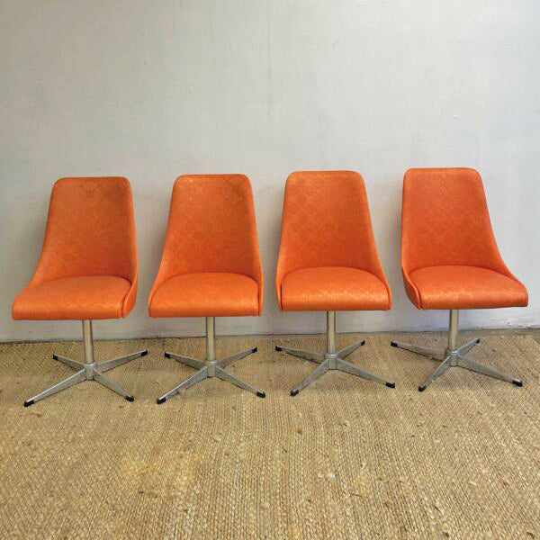 Late Set 4 1960's Pongrass Orange Patterned Vinyl Swivel Dining Chairs