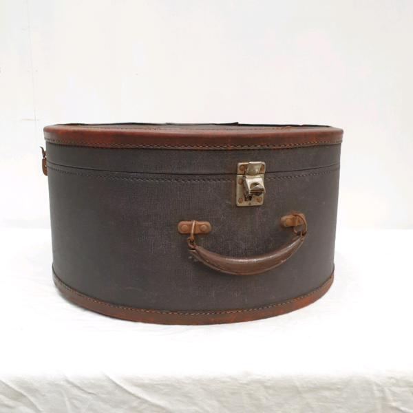 Leather and Canvas Hat Box