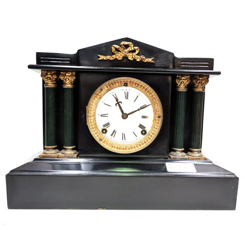 Antique Mantel clock with ceramic face