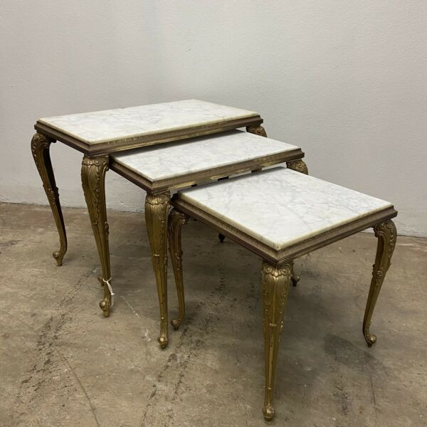Marble & brass Hollywood Regency Style Nest of Tables