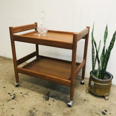 Mid Century 2 Tier Bar Tea Trolley