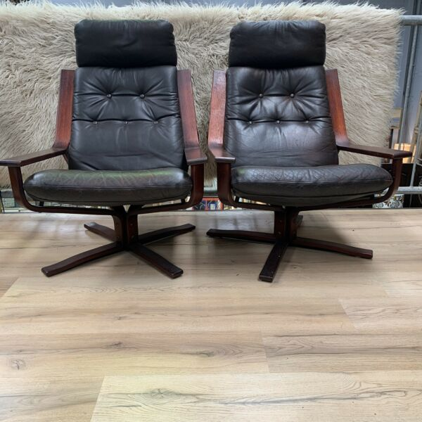 Rare Pair of Mid Century Joe Rufeacht Leather Swivel Lounge Chairs
