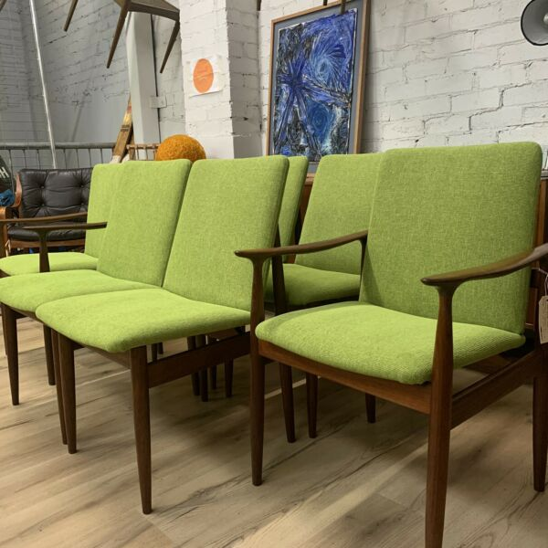 Mid Century Parker Dining Chairs Set 6 - Fully Restored & Upholstered