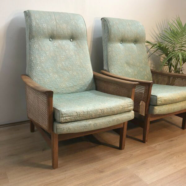 Mid Century 'Fler' Rattan Sided Lounge Chairs