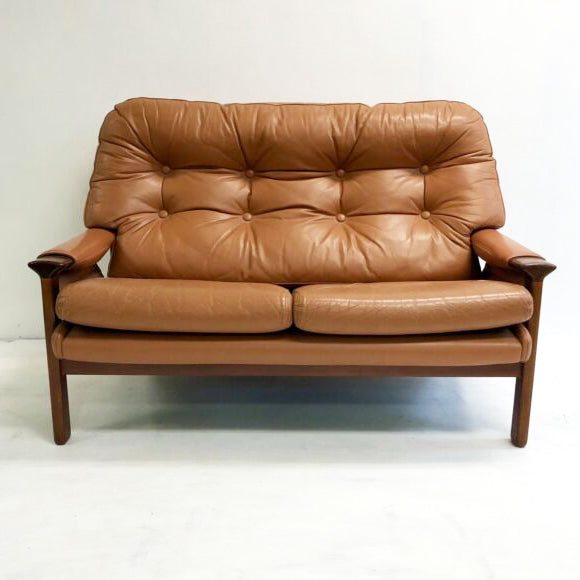 Mid century Tessa 2 Seater Lounge In Tan Leather