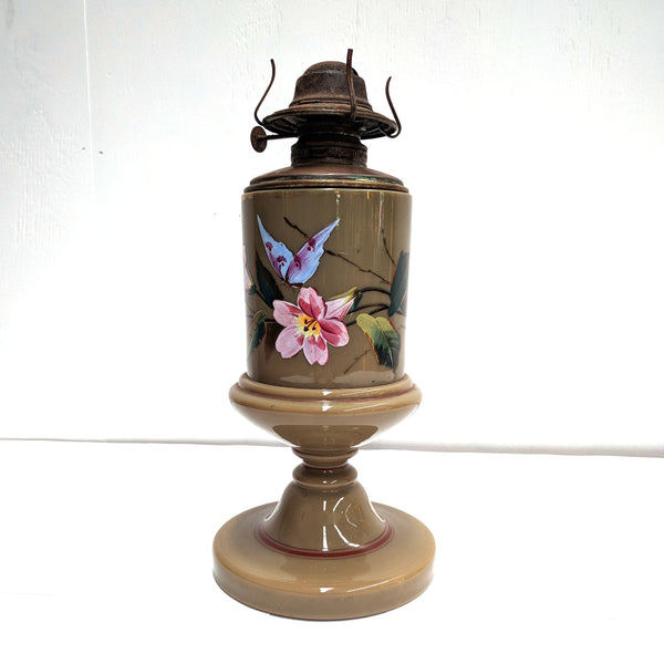 Antique Glass Enamel Hand Painted Oil Lamp The Design Ark