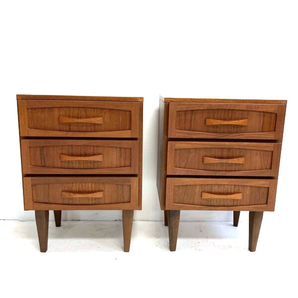 Pair Of Mid Century Burgess Bedside Table