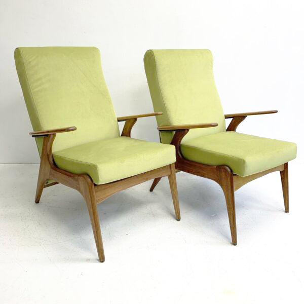 Pair Of Mid Century Fler SC 55 Armchairs