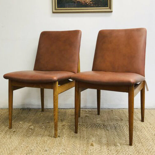 Pair Of Mid Century Leather Parker Paddle Back Dining Chairs