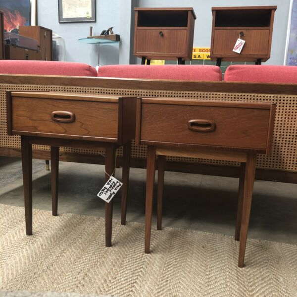 Pair Of Mid Century Parker Nordic Bedside Tables