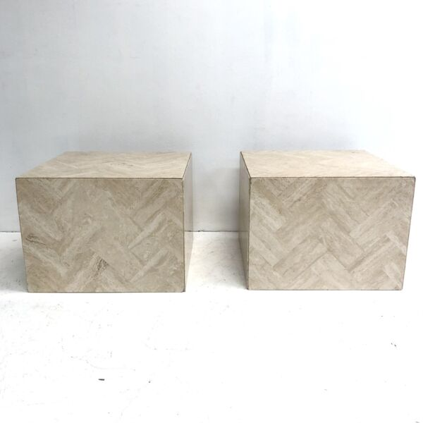 Pair Of Travertine Cube Side Tables Or Pedestals