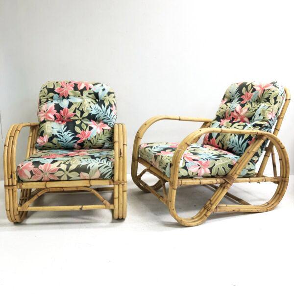 Pair Of Vintage Pretzel Cane Armchairs