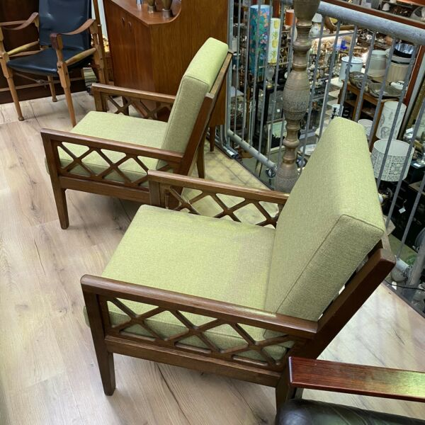 Pair of Mid Century Avalon Chairs Restored Armchairs