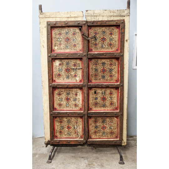 Pair vintage Indian French Doors Mounted As Screen Room Divider
