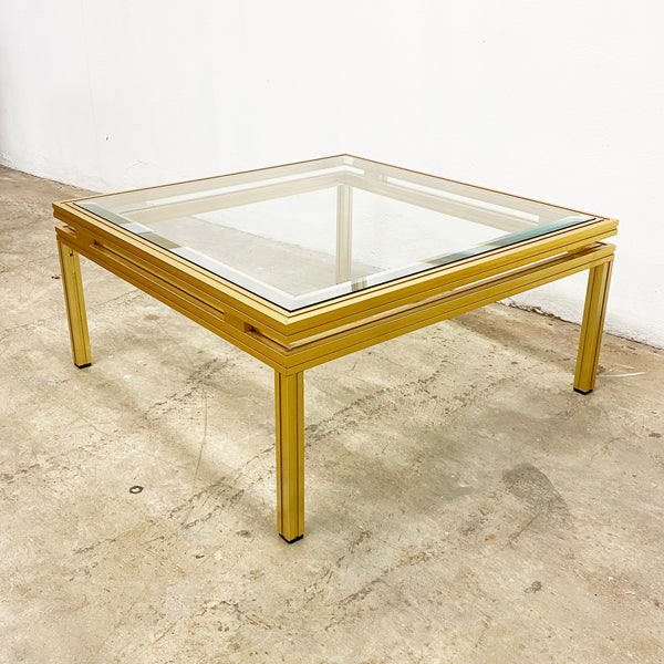 1970's Hollywood Regency Style Gold Square Coffee Table By Pierre Vandel Paris