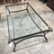 Hollywood Regency Style Steel and Brass Rams Head Glass Coffee Table