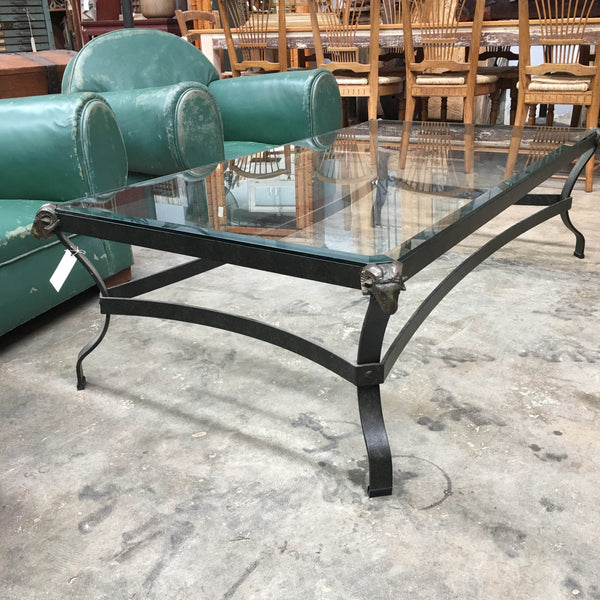 Steel and Glass Rams Head Coffee Table