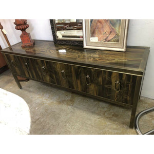 Rare Mid Century Brass Sheathed Abstract Sideboard