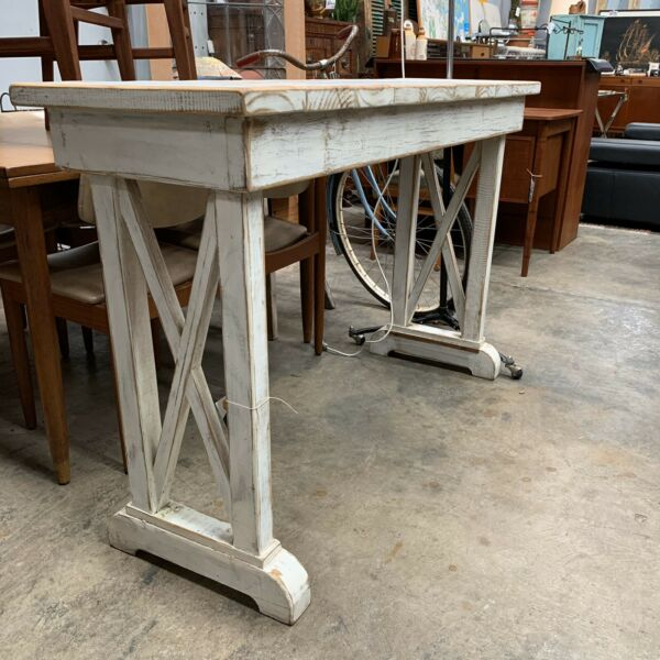 Rustic White Oregon Console Table Bench