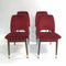 Set Of 4 Mid Century 60's Red Velour Dining Chairs