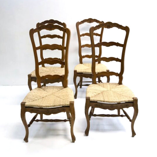 Set Of 4 French Provincial Style Rush Seat Ladder Back Dining Chairs