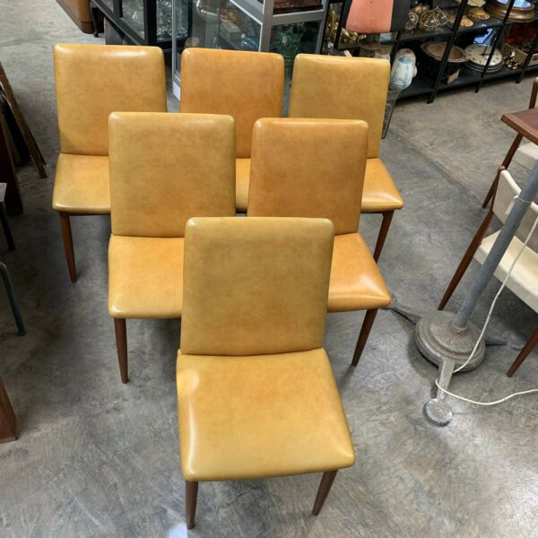 Six Mid Century Parker Slab Back Dining Chairs