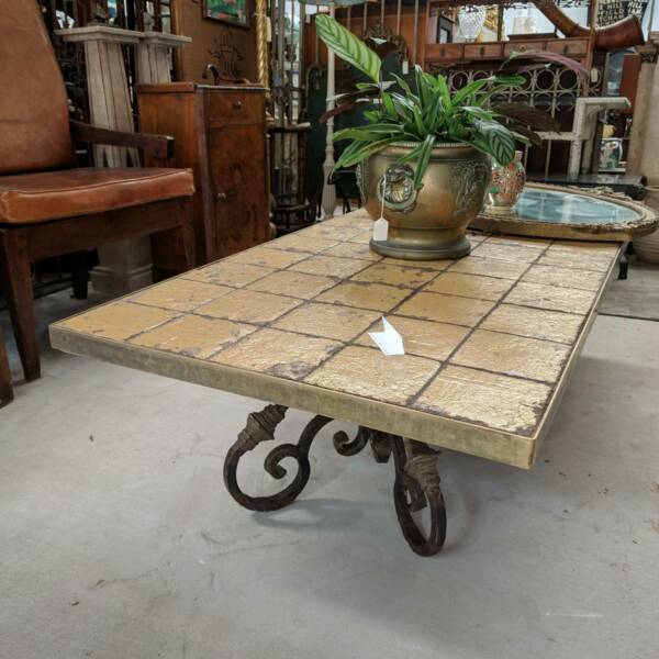 Large Spanish Wrought Iron and Brass Tile Top Coffee Table, late 20th Century