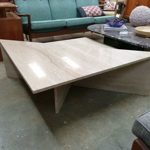 Split Sectional Travertine Coffee Table