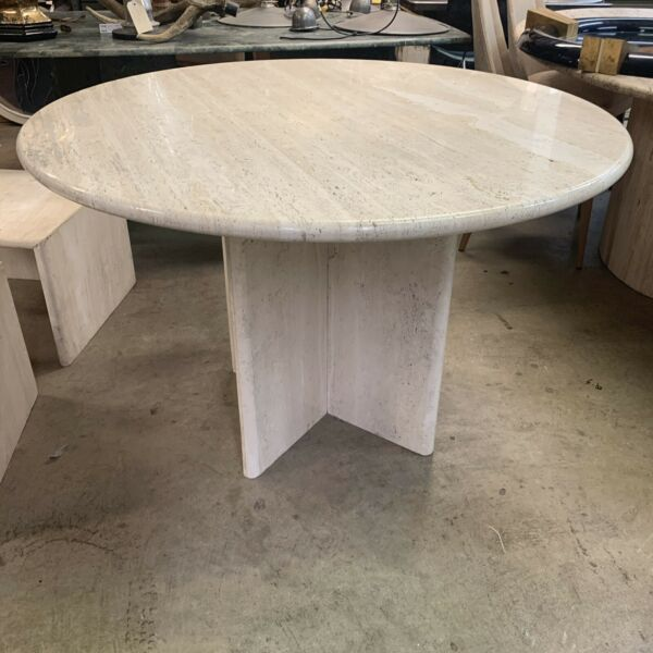 Gorgeous Travertine Dining Table on a Pedestal Base