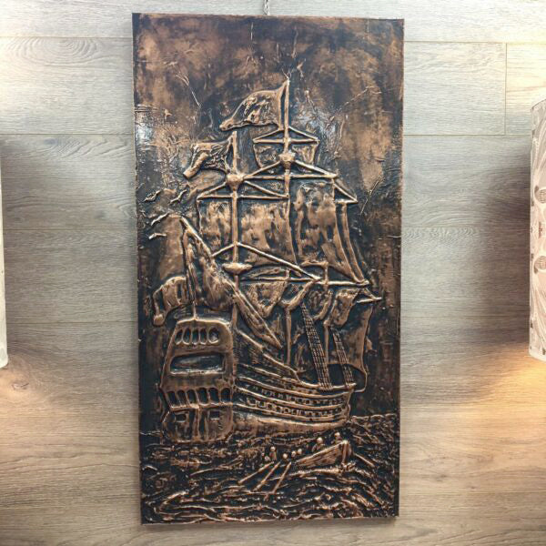 Vintage 1970's Sailing Ship Copper Wall Art