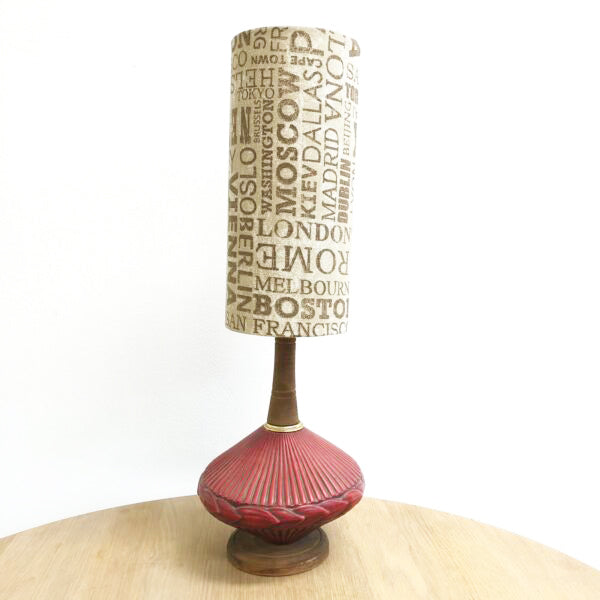 Vintage 1970's Teak and Ceramic Lamp With Custom Shade