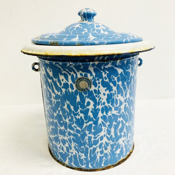 Large French Vintage Blue and White Marbled Enamelware Canister