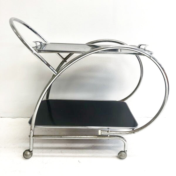 Vintage Mid Century Deco Drinks Trolley Bar Cart