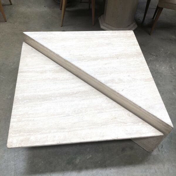 Vintage Open Grain Two Tier Travertine Origami Coffee Table