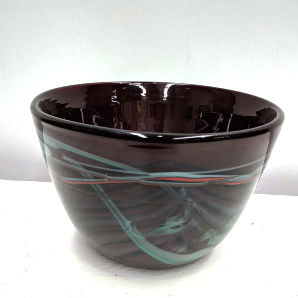 Purple marbled vintage art glass bowl