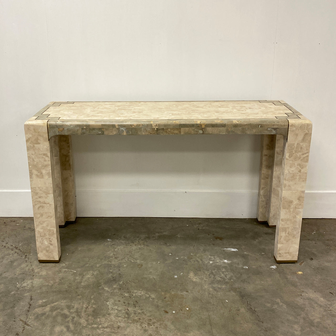 1980's Tessalated Fossilized Coral Stone Console Hall Table