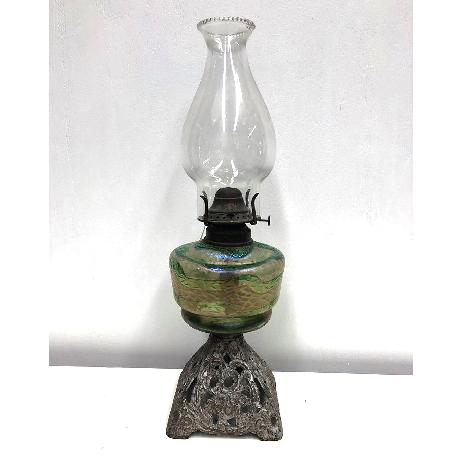 Antique loetz Kerosene lamp