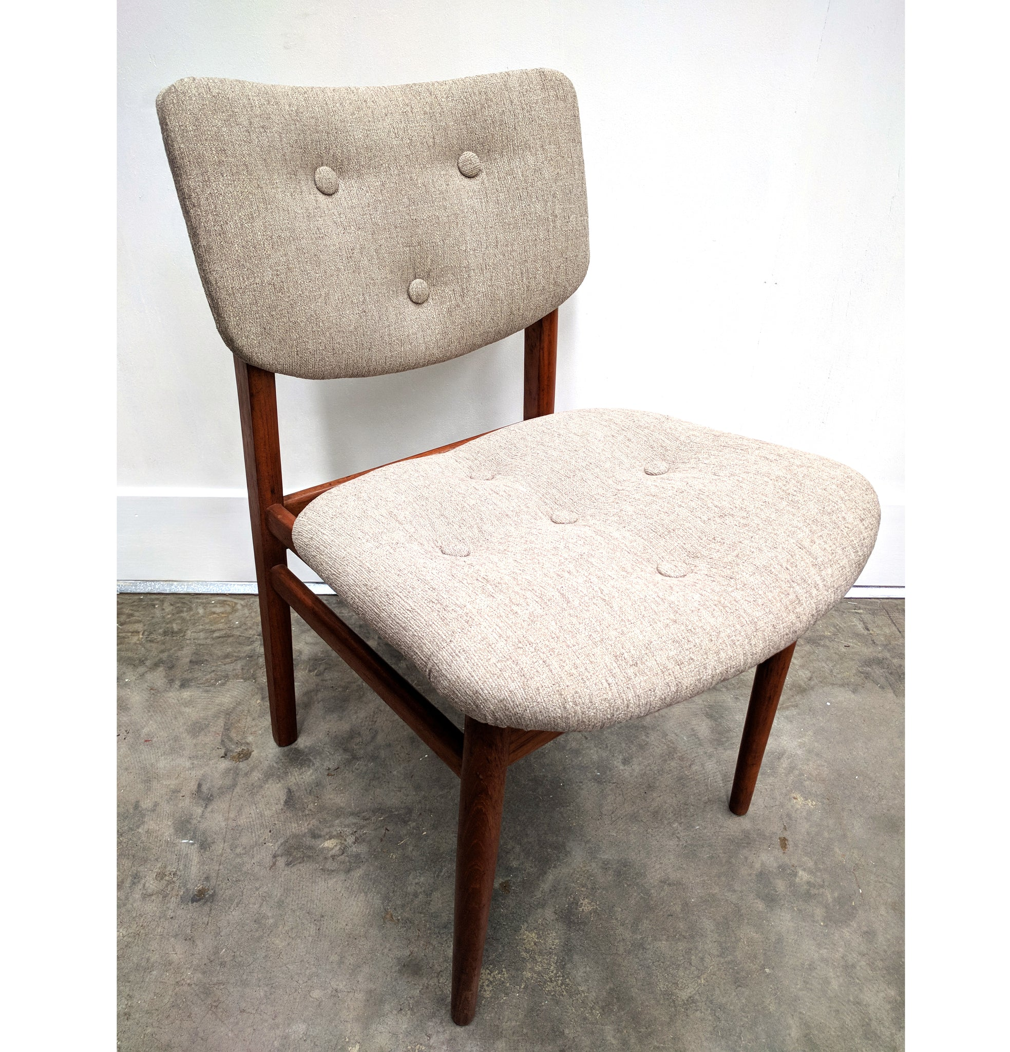 Set 4 Teak Reupholstered Dining Chairs
